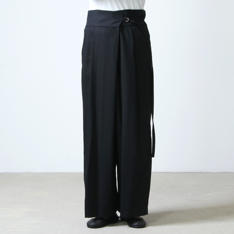 08sircus(ゼロエイトサーカス) Cotton tricotine wide wrap pants