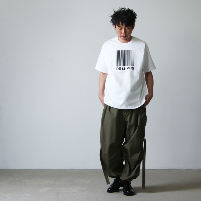 08sircus(ゼロエイトサーカス) Barcode logo rubber print tee