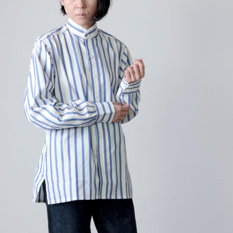 ANATOMICA (アナトミカ) BAND COLLAR SHIRTS BENGAL STRIPE For Women / バンドカラーシャツベンガルストライプ