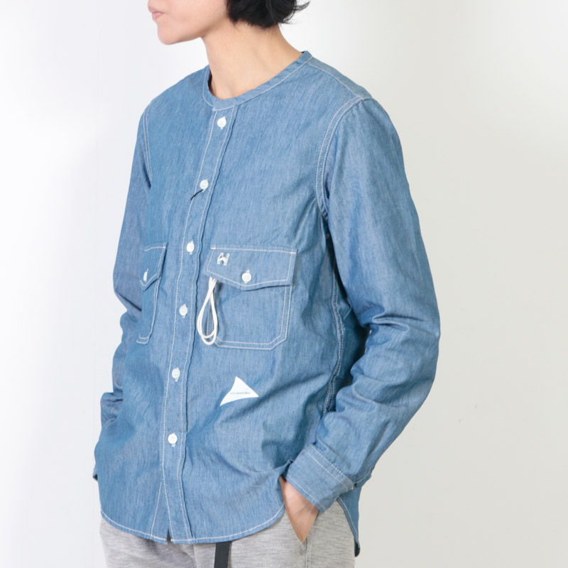and wander (アンドワンダー) PL dungaree collarless shirt for woman / PL ダンガリーカラーレスシャツ レディース