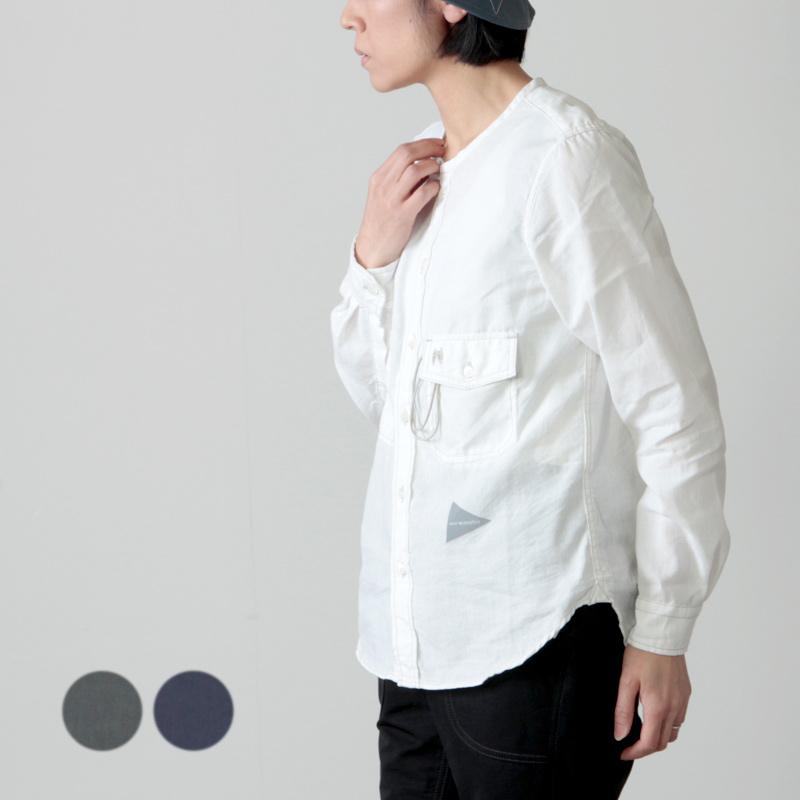 and wander (アンドワンダー) dry linen collarless shirt for woman / ドライリネンカラーレスシャツ レディース