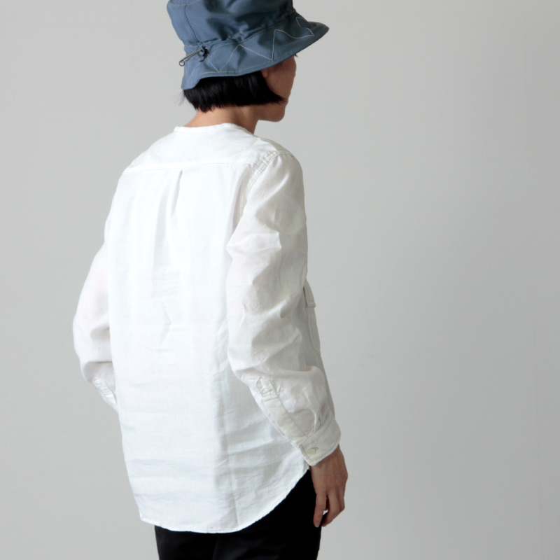 and wander(アンドワンダー) dry linen collarless shirt for woman