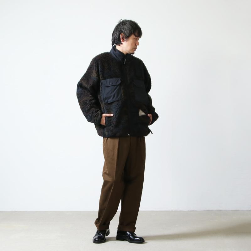 and wander(アンドワンダー) jacquard boa jacket