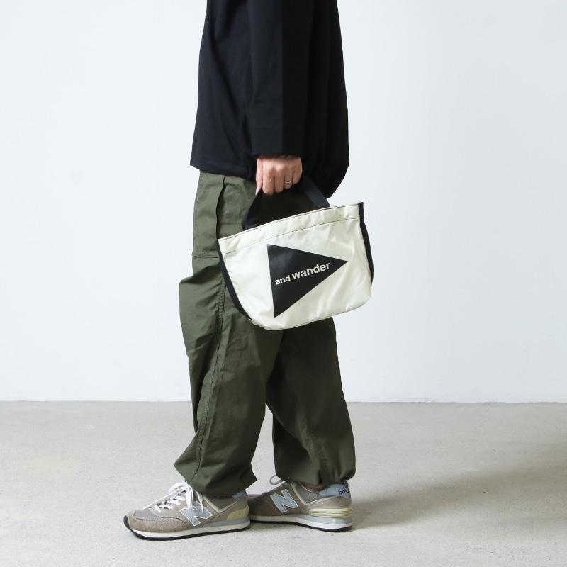 and wander(アンドワンダー) CORDURA logo tote bag small