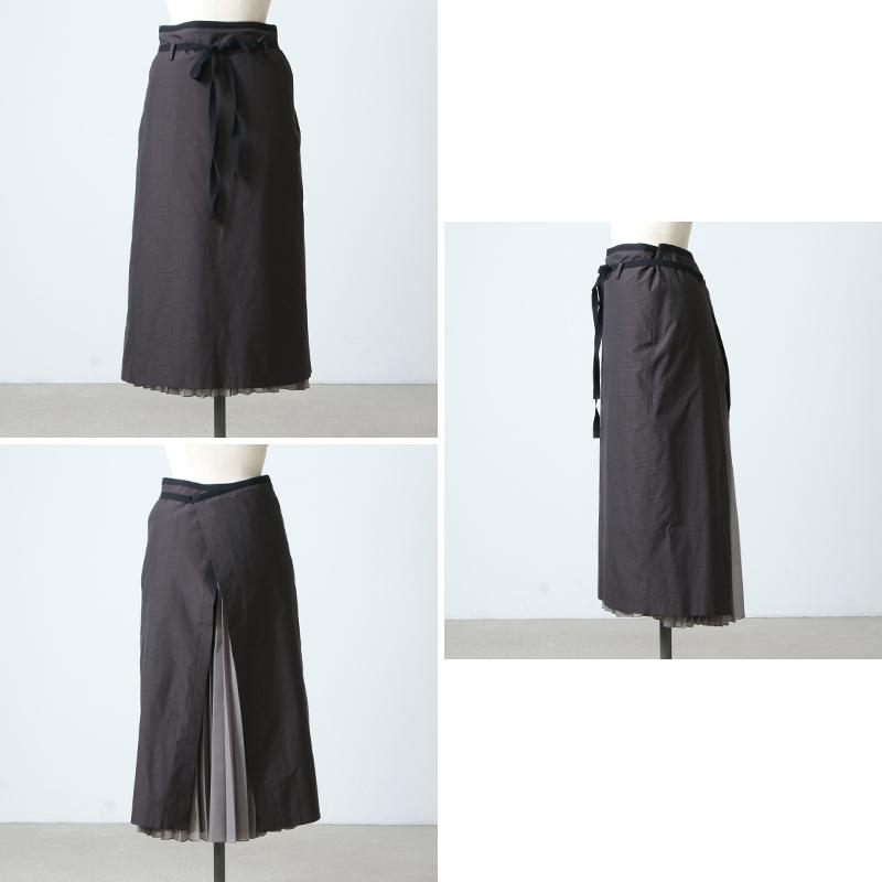 beautiful people(ビューティフルピープル) shadow check apron pleated skirt