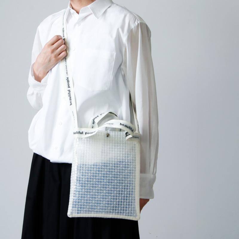 beautiful people (ビューティフルピープル) plaid vinyl logo tape sacoshe bag / プレイドビニールロゴテープサコッシュバッグ