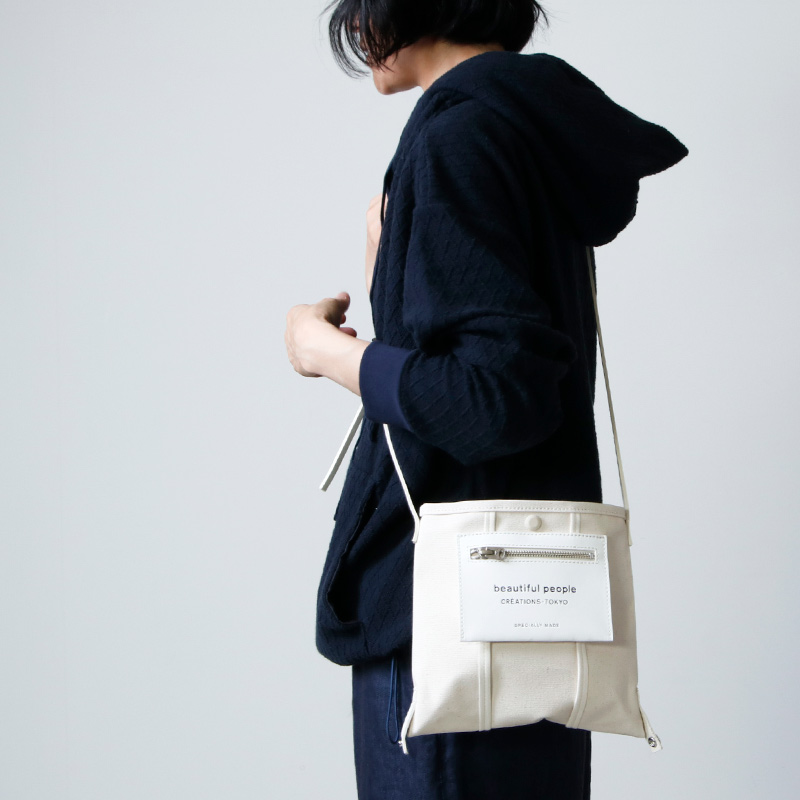 beautiful people (ビューティフルピープル) lining logo pocket mini shoulder bag / ライニングロゴポケットミニショルダーバッグ