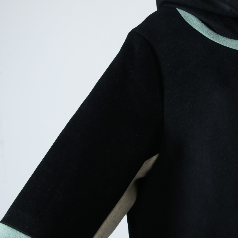 blanc basque(ブランバスク) 圧縮ウールカラーブロックコート