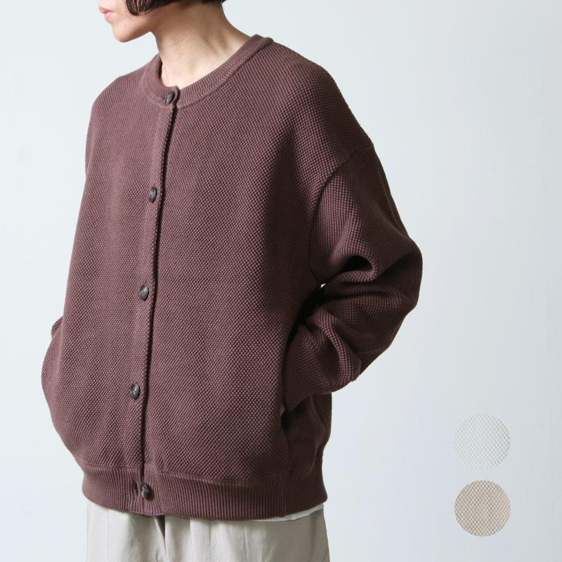 crepuscule (クレプスキュール) Moss stitch crew cardigan for woman / モススティッチクルーカーディガン レディースサイズ