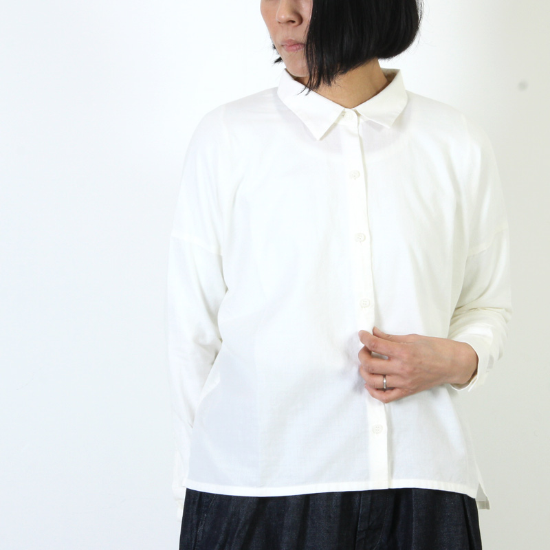 evameva(エヴァムエヴァ) Cotton cashmere square shirt