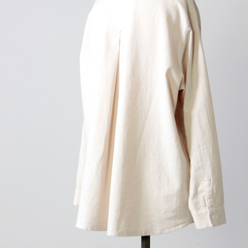 evameva(エヴァムエヴァ) cotton wool nocollar shirt