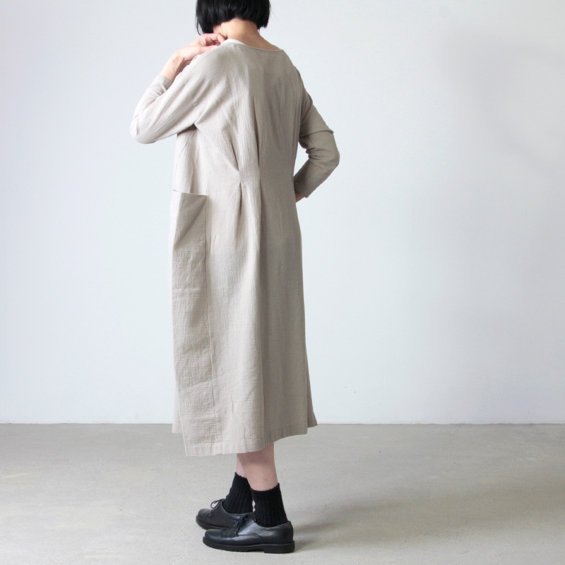 evameva(エヴァムエヴァ) cotton linen drop pocket OP