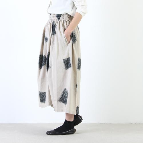 FACTORY (ファクトリー) 綿麻スクリプト柄ギャザースカート