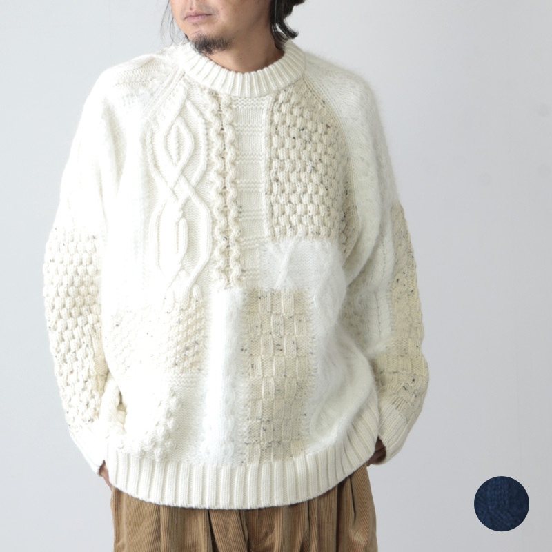is-ness (イズネス) MOSAIC KNITTED SWEATER / モザイクニットセーター