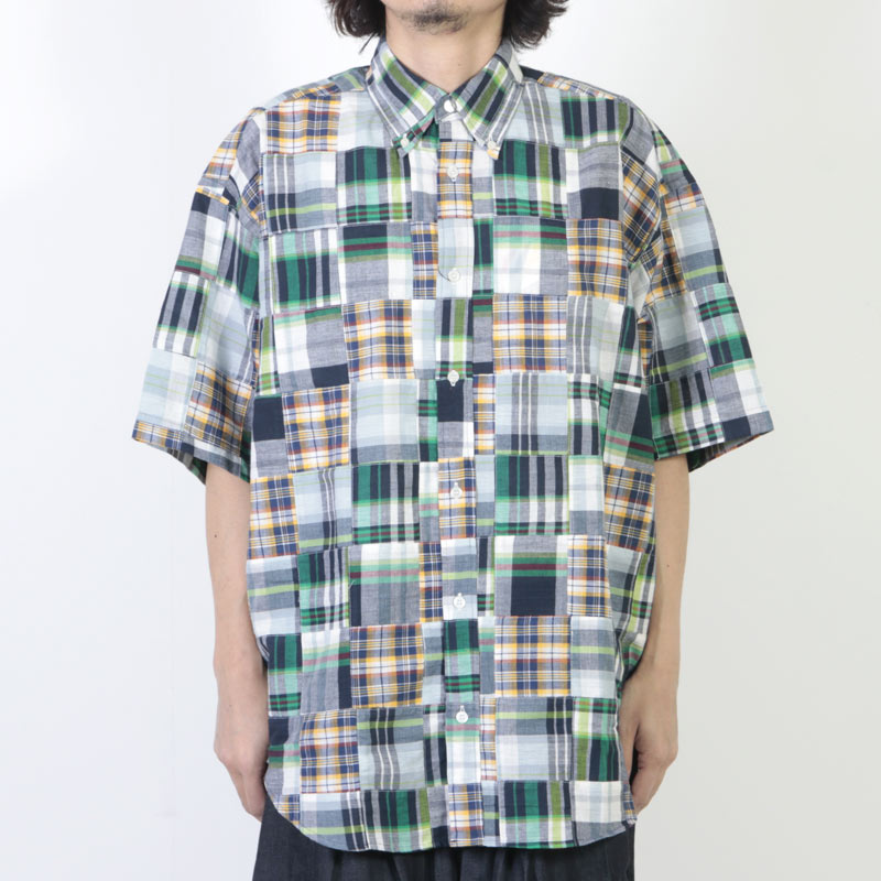 is-ness(イズネス) PATCHWORK CHECK SHORT SLEEVES SHIRT