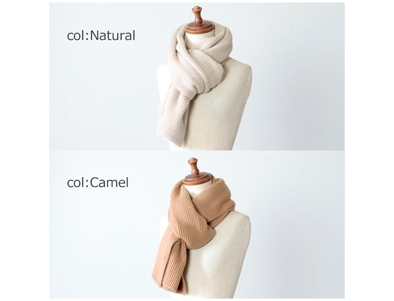 Johnstons(ジョンストンズ) cashmere ribbed wide scarf