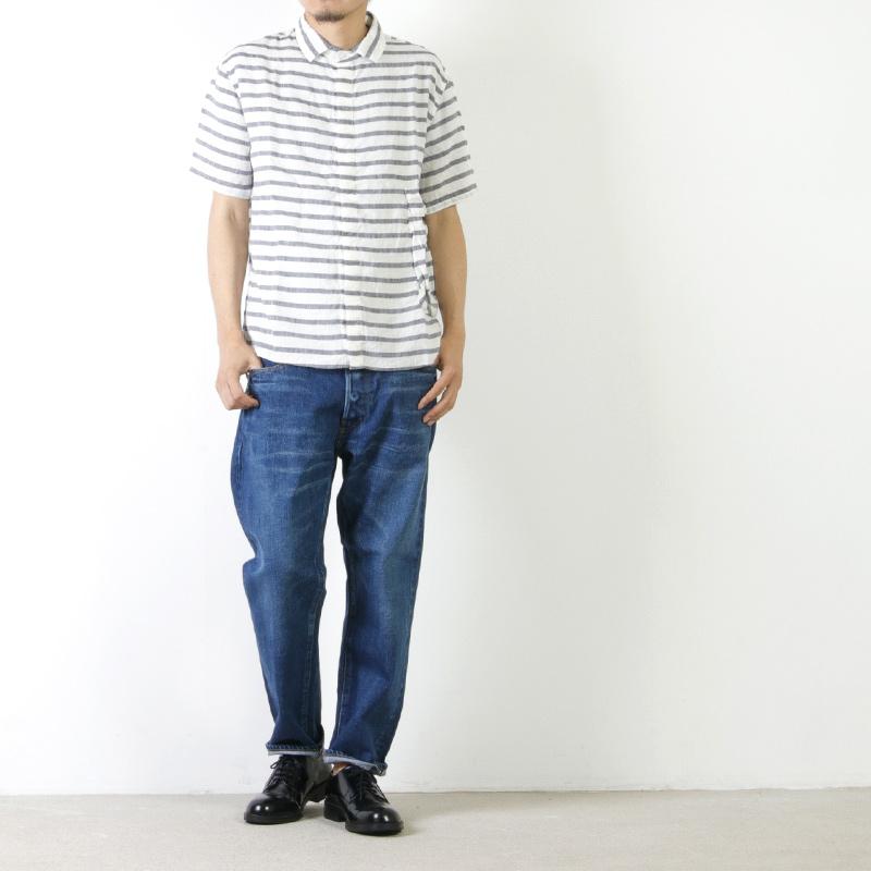 LOLO(ロロ) 麻×リヨセル 半袖ボーダー bag シャツ