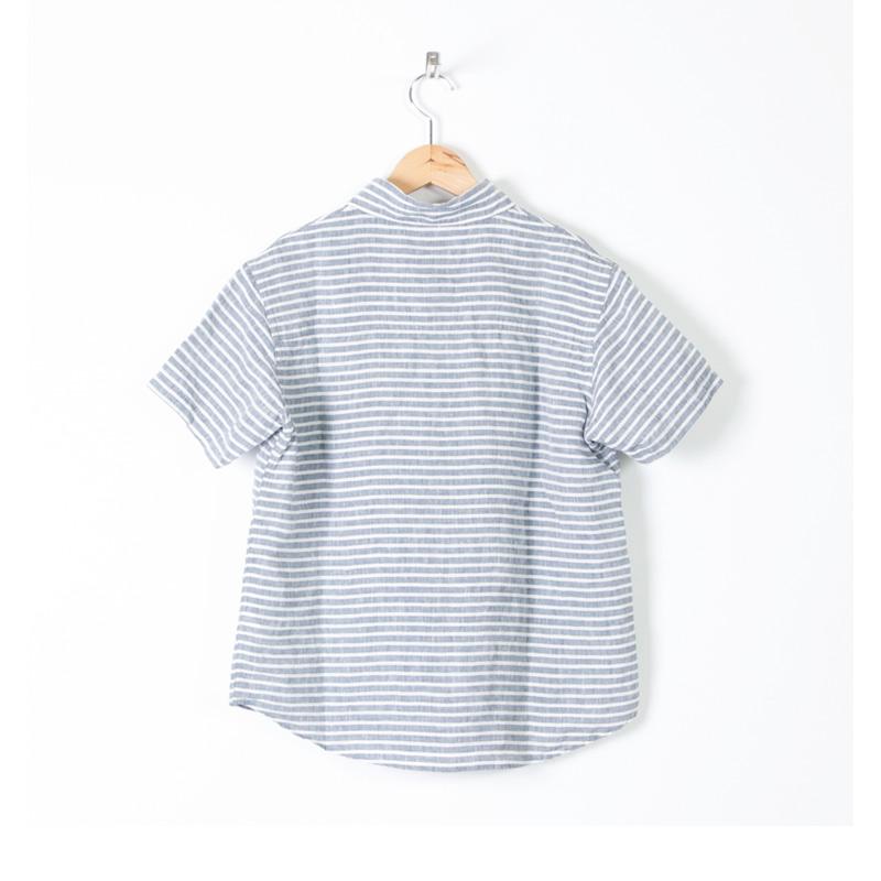 LOLO(ロロ) 定番プルオーバー型 半袖リネンボーダーシャツ