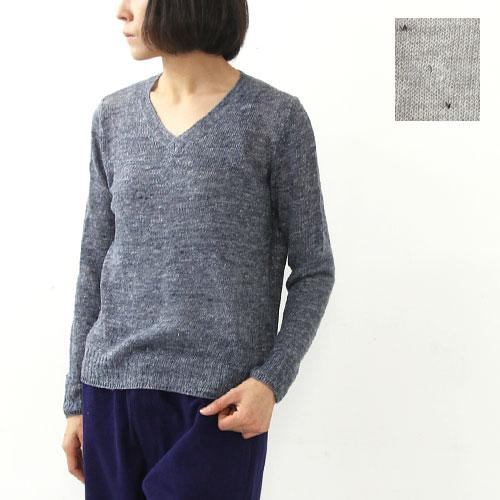 mao made (マオメイド) Vネックリネンニットプルオーバー
