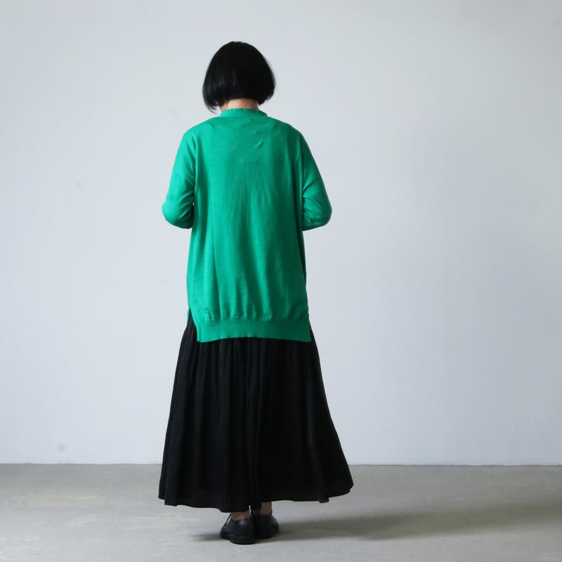 mao made(マオメイド) UV加工ピマコットンVネックカーディガン