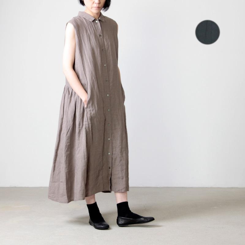 MidiUmi (ミディウミ) リネンノースリーブシャツワンピース