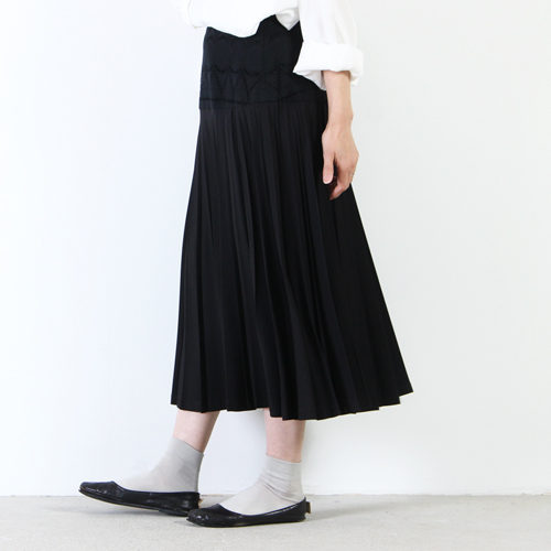 mizuiro ind (ミズイロインド) レースコンビプリーツスカート