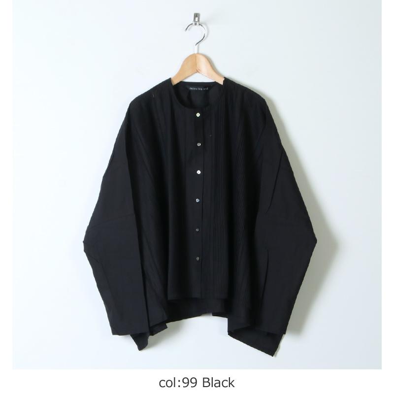 mizuiro ind(ミズイロインド) ピンタックノーカラーワイドシャツ