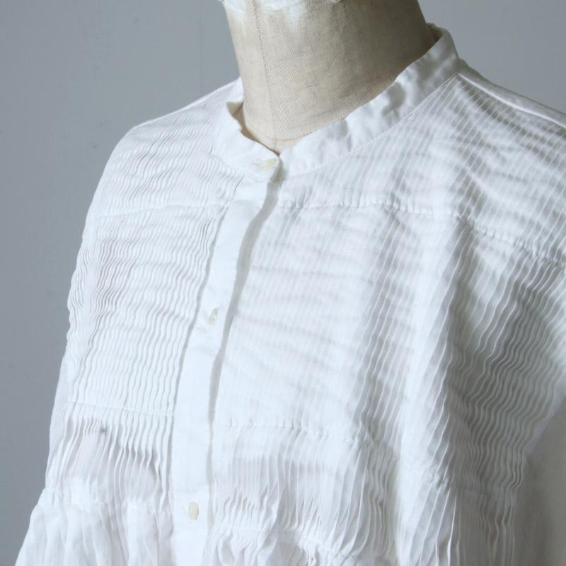 mizuiro ind(ミズイロインド) スタンドカラーピンタックシャツ