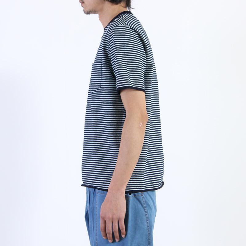 NATIC(ナティック) インディゴ天竺ボーダーTシャツ