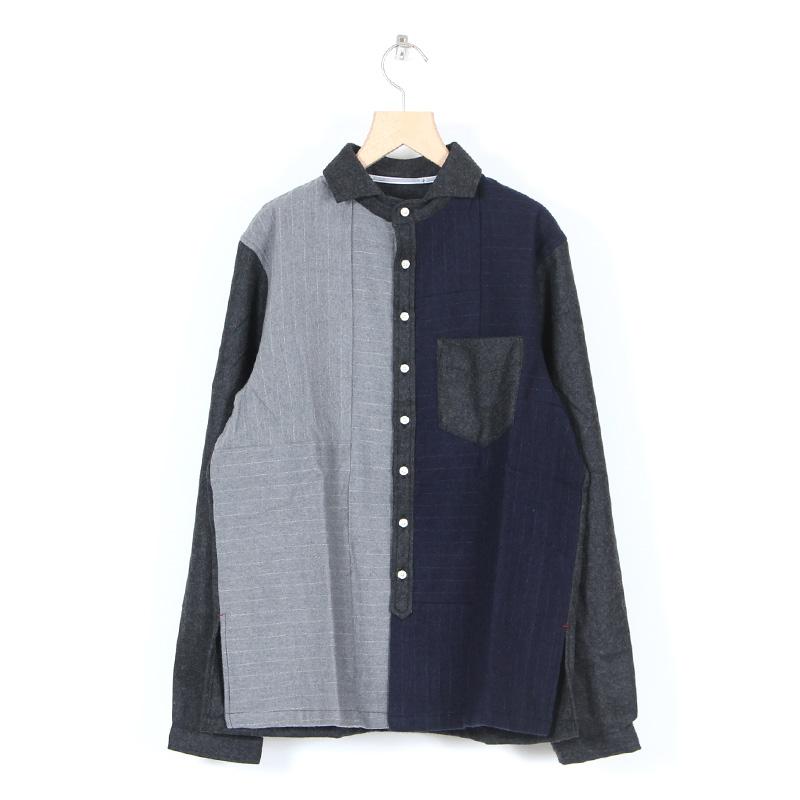 NATIC(ナティック) 縮絨×フラノパッチワークシャツ