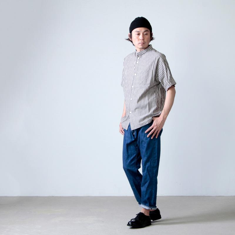 nisica(ニシカ) ストライプバンドカラーシャツ