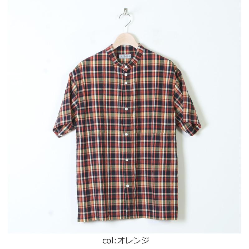 nisica(ニシカ) 半袖チェックバンドカラーシャツ