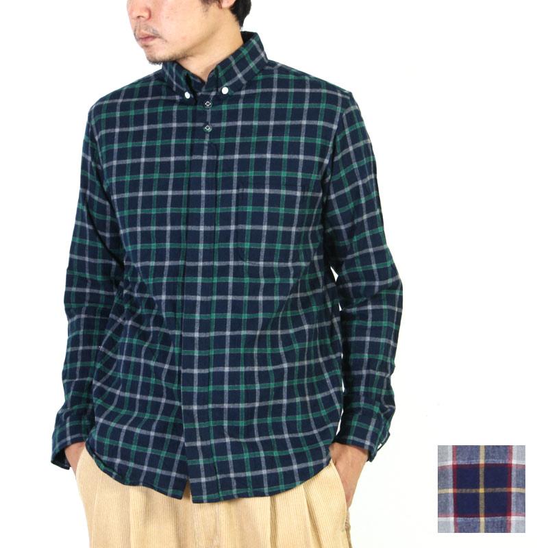 nisica (ニシカ) ネルチェックボタンダウンシャツ