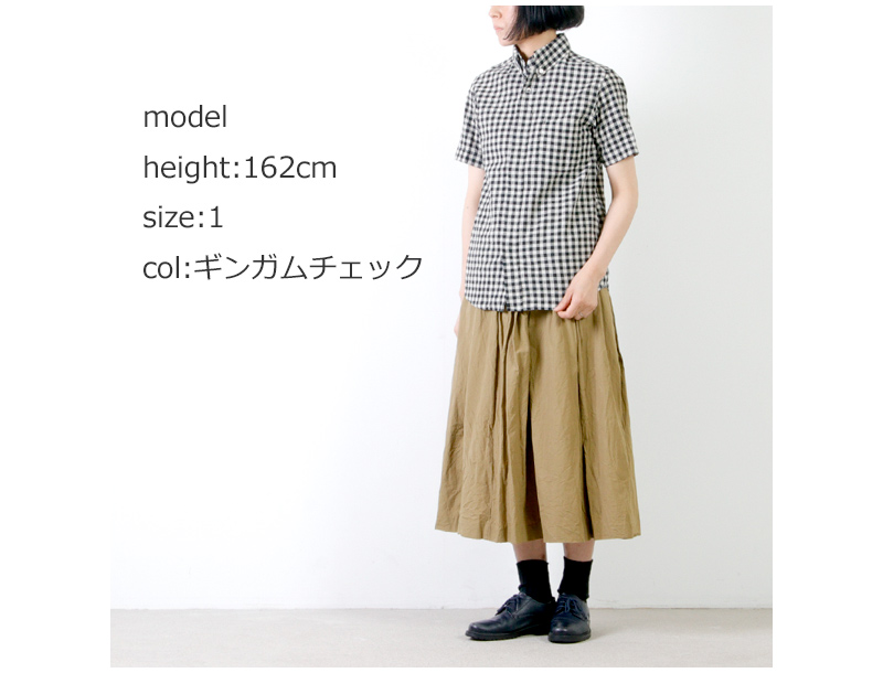 nisica(ニシカ) 半袖ギンガムチェックボタンダウンシャツ