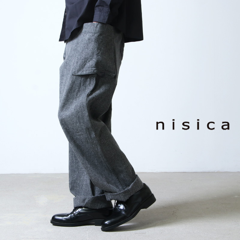 nisica (ニシカ) カーゴパンツ コットンヘリンボン