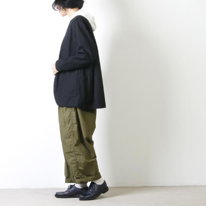 NO CONTROL AIR(ノーコントロールエアー) ムラ糸 ルーズバックサテン Vネックジャケット
