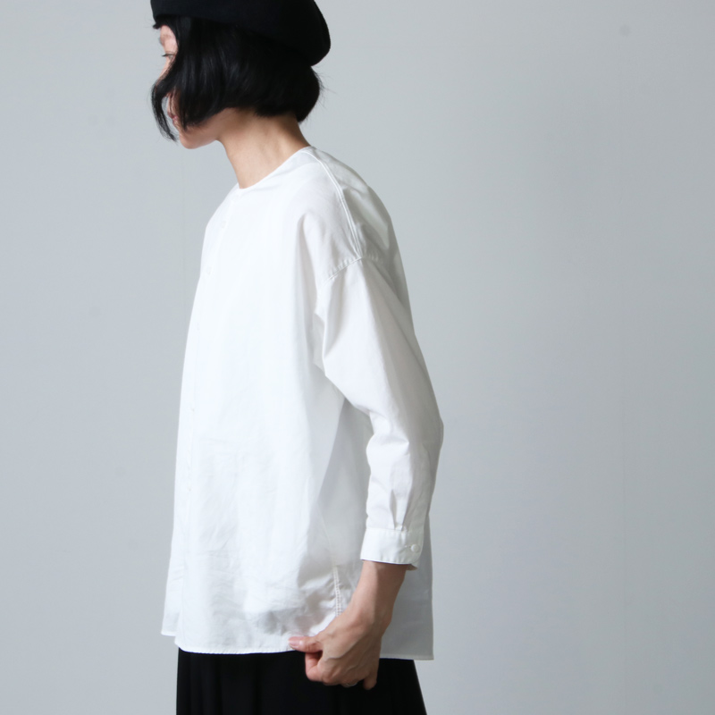 NO CONTROL AIR(ノーコントロールエアー) コットン100/2コーマ高密ブロードノーカラーシャツ