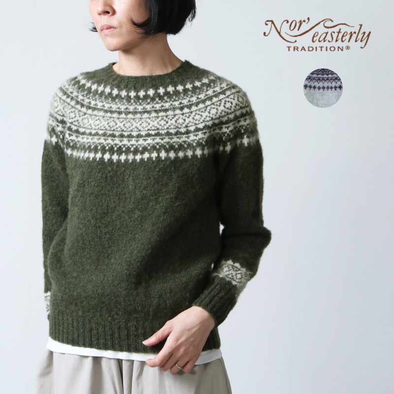 NOR'EASTERLY (ノア イースターリー) NOR'EASTERLY HARLEY  CREW NECK 2TONE NORDIC SWEATER / ハーレー クルーネックツートンノルディックセーター