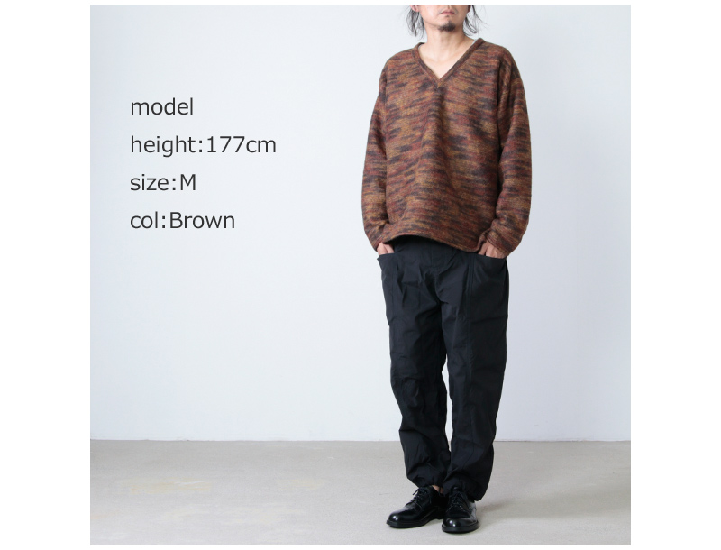South2 West8(サウスツーウエストエイト) Side Slit V Neck Shirt - Pe/Ac/W Shaggy Knit