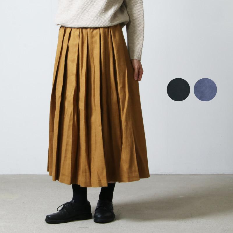 style + confort (スティールエコンフォール) リネン起毛 タックスカート