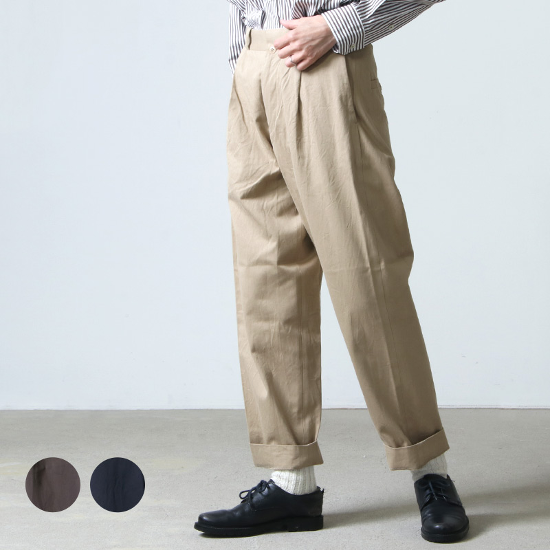 YAECA (ヤエカ) CHINO CLOTH PANTS TACK TAPERED / チノクロスパンツタックテーパード