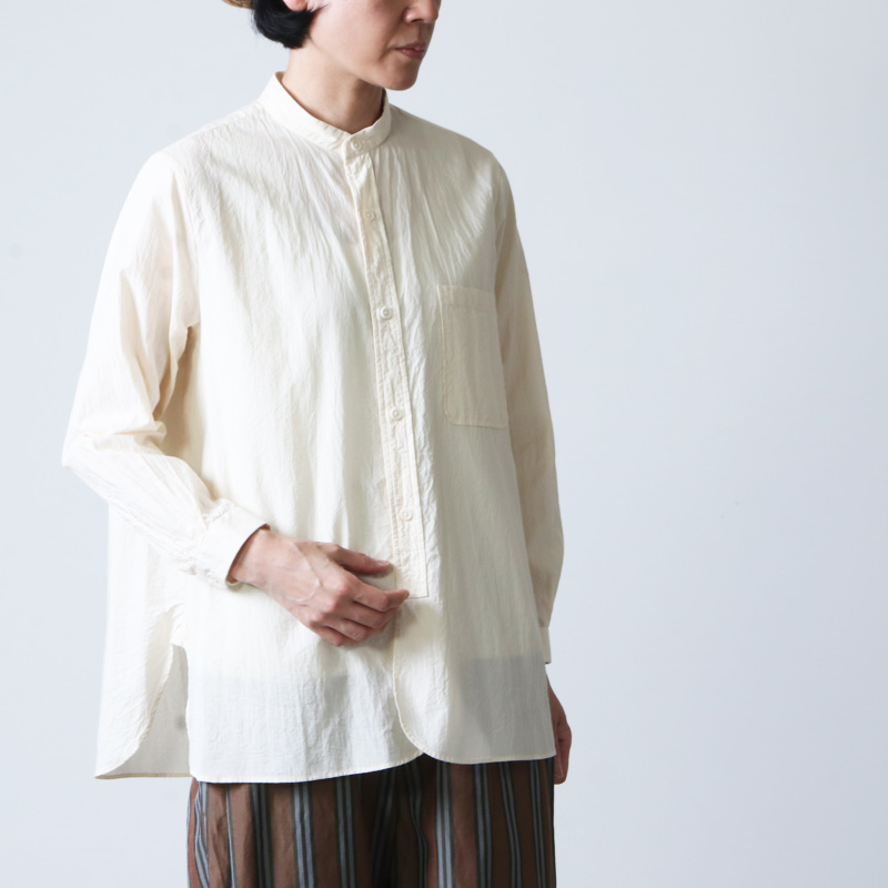 YAECA (ヤエカ) WRITE STANDING COLLAR SHIRT cotton ramie / ライトスタンディングカラーシャツコットンラミー