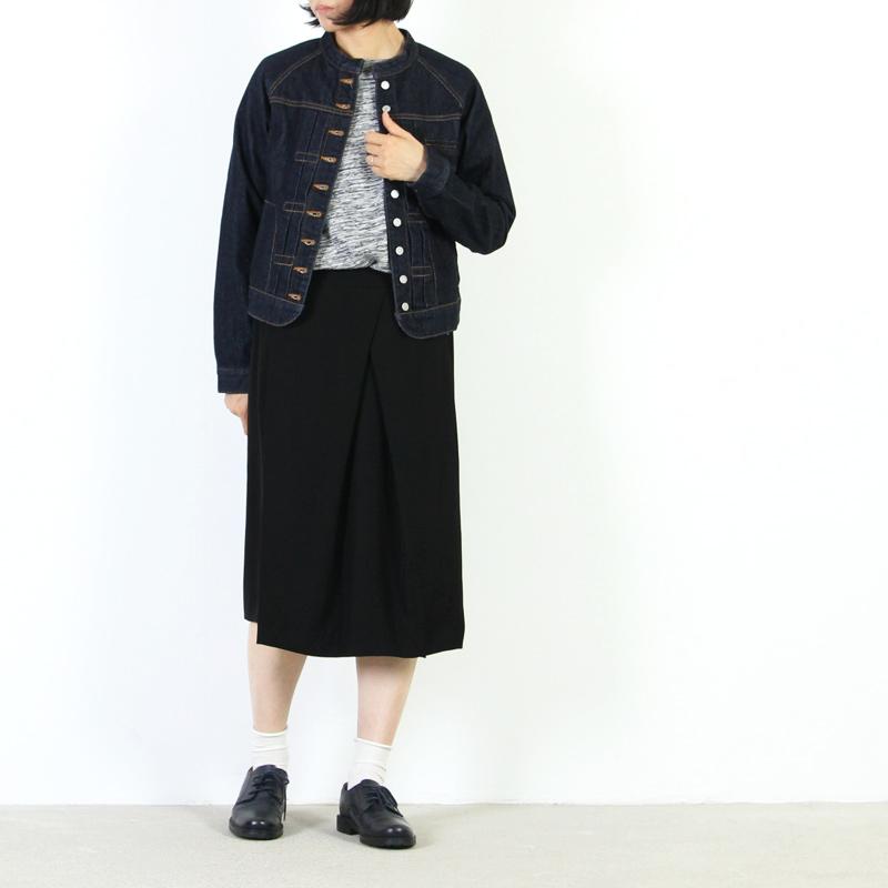 whyto(ホワイト) 二重織サテン変形タックスカート